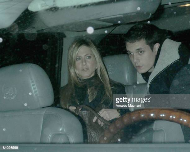 Jennifer Aniston and John Mayer leaving Il mulino restaurant in the West Village on December 19 2008 in New York City