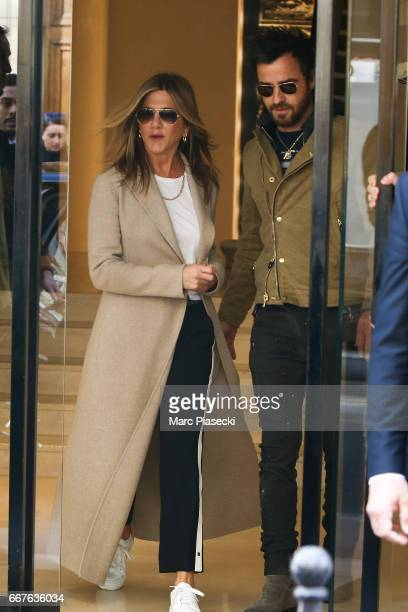 Jennifer Aniston and Justin Teroux are seen leaving the 'CHANEL Rue Cambon' store on April 12 2017 in Paris France