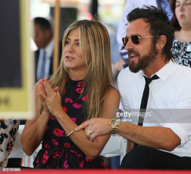 Jennifer Aniston and Justin Theroux attend the ceremony honoring Jason Bateman with Star On The Hollywood Walk Of Fame on July 25 2017 in Hollywood...