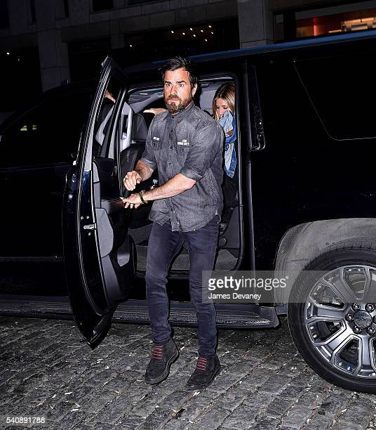 Jennifer Aniston and Justin Theroux leave The Smile in Manhattan on June 16 2016 in New York City