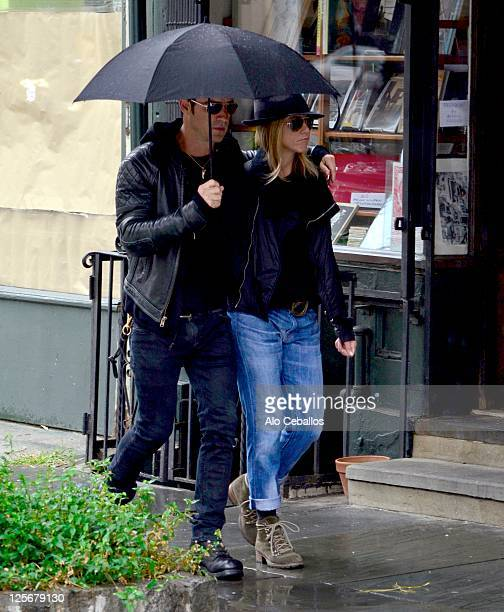 Jennifer Aniston and Justin Theroux seen in the West Village on September 20 2011 in New York City
