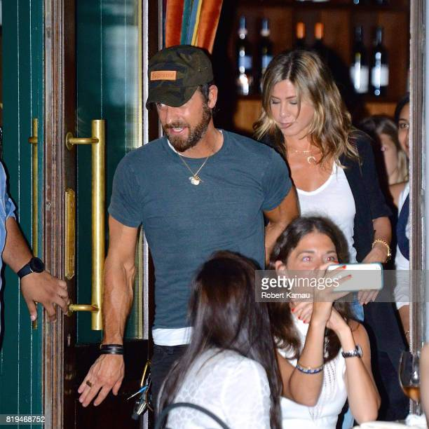 Jennifer Aniston and Justin Theroux seen leaving a restaurant in West Village on July 18 2017 in New York City