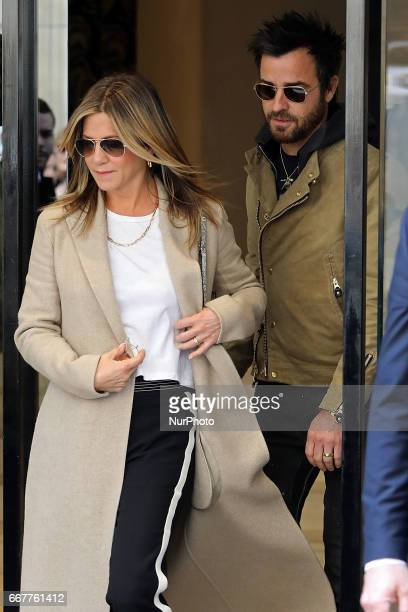 Jennifer Aniston and Justin Theroux seen leaving Chanel store in Paris on April 12 2017