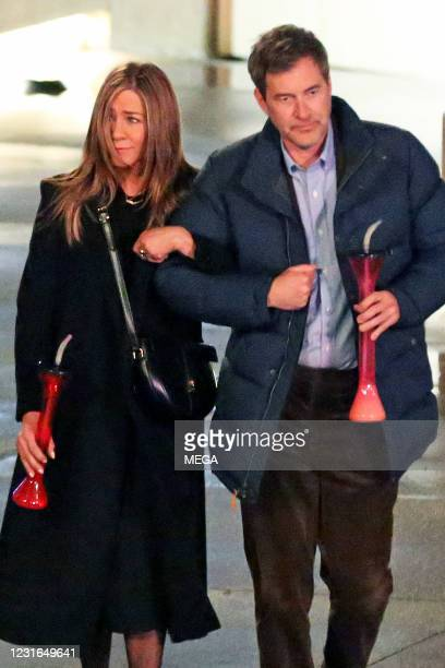 """Jennifer Aniston and Mark Duplass shoot scenes for """"The Morning Show"""" on March 11, 2021 in Los Angeles, California."""