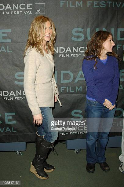 Jennifer Aniston and Nicole Holofcener director during 2006 Sundance Film Festival Friends With Money Press Conference at Sundance House in Park City...