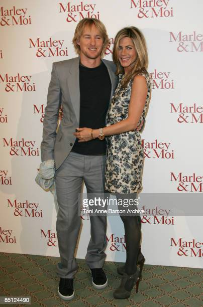 PARIS FEBRUARY 26 Jennifer Aniston and Owen Wilson attend the Marley and Me Paris Photocall at the Bristol Hotel on February 26 in Paris France