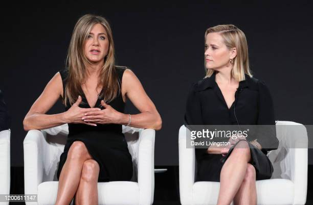 Jennifer Aniston and Reese Witherspoon of The Morning Show speak on stage during the Apple TV segment of the 2020 Winter TCA Tour at The Langham...