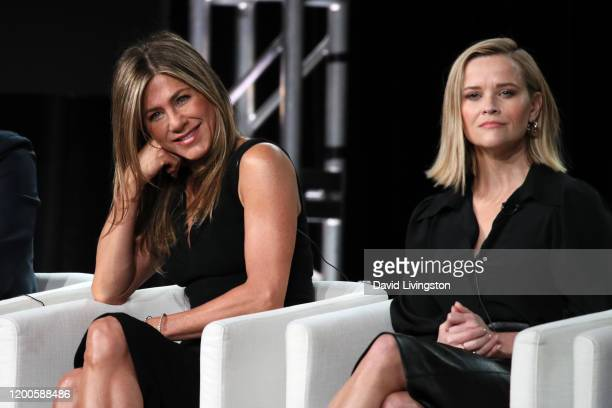Jennifer Aniston and Reese Witherspoon of The Morning Show speak onstage during the Apple TV segment of the 2020 Winter TCA Tour at The Langham...