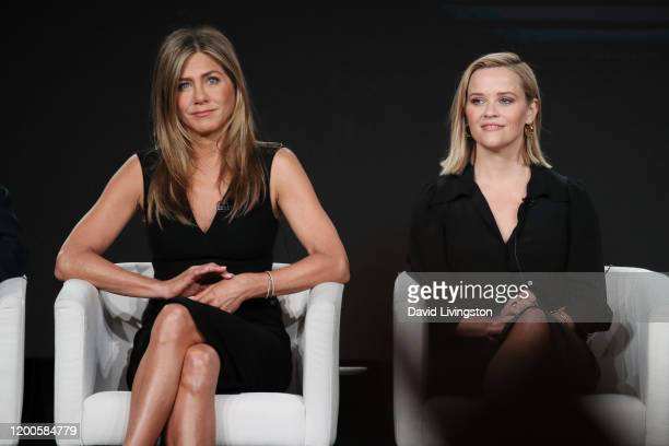Jennifer Aniston and Reese Witherspoon of The Morning Show speaks onstage during the Apple TV segment of the 2020 Winter TCA Tour at The Langham...