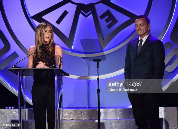 Jennifer Aniston and Stephen Huvane attend the 57th Annual ICG Publicists Awards at The Beverly Hilton Hotel on February 07 2020 in Beverly Hills...