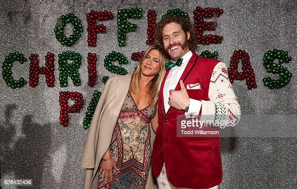 Jennifer Aniston and T J Miller attend the Premiere of Paramount Pictures' 'Office Christmas Party' at Regency Village Theatre on December 7 2016 in...