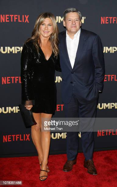 Jennifer Aniston and Ted Sarandos attend the Los Angeles premiere of Netflix's 'Dumplin'' held at TCL Chinese Theatre on December 06 2018 in...