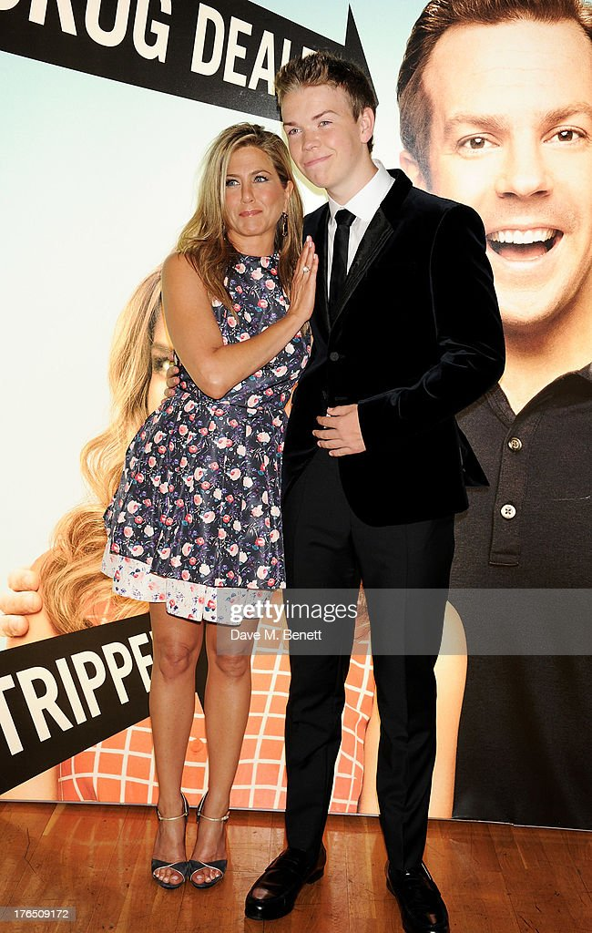 Jennifer Aniston (L) and Will Poulter attend the European Premiere of 'We're The Millers' at Odeon West End on August 14, 2013 in London, England.