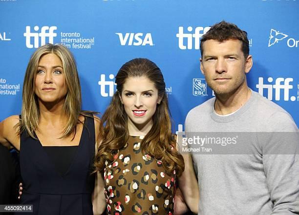 Jennifer Aniston, Anna Kendrick and Sam Worthington arrives at the photo call of Cake at the 2014 Toronto International Film Festival - Day 6 held on...