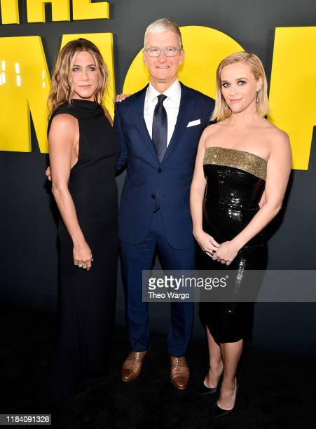Jennifer Aniston Apple CEO Tim Cook and Reese Witherspoon attend the Apple TV's The Morning Show World Premiere at David Geffen Hall on October 28...