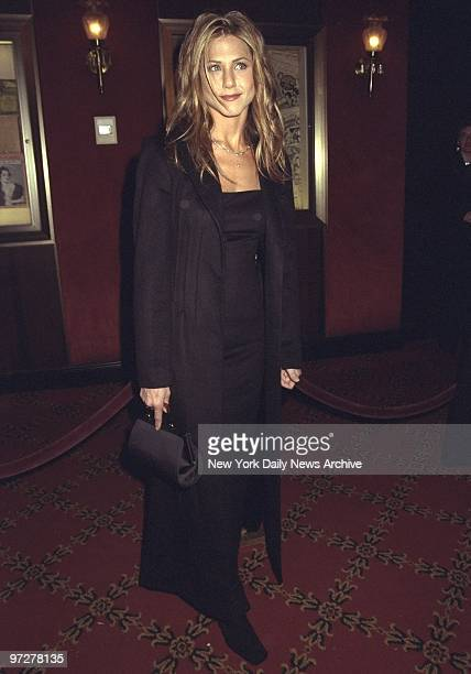 Jennifer Aniston arrives for premiere of movie 'Meet Joe Black' at the Ziegfeld Theater