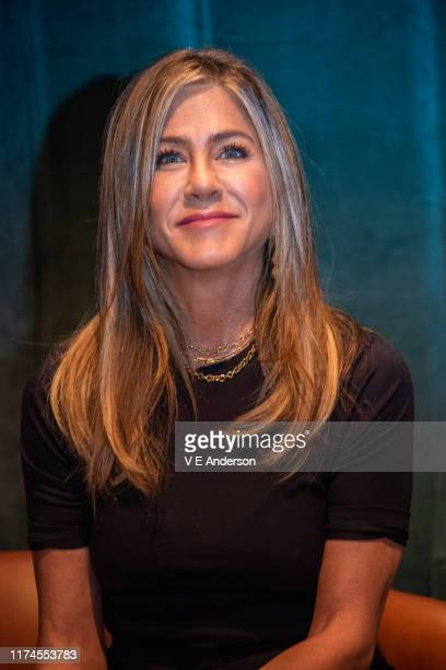 Jennifer Aniston at The Morning Show Press Conference at the Wallis Annenberg Center for the Performing Arts on August 15 2019 in Beverly Hills...