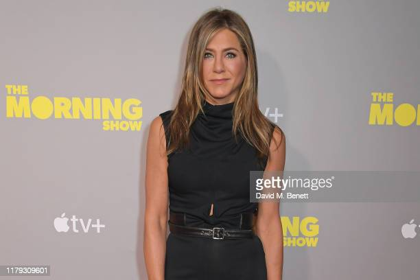 "Jennifer Aniston attends a special screening of Apple's ""The Morning Show"" at The Ham Yard Hotel on November 1, 2019 in London, England."