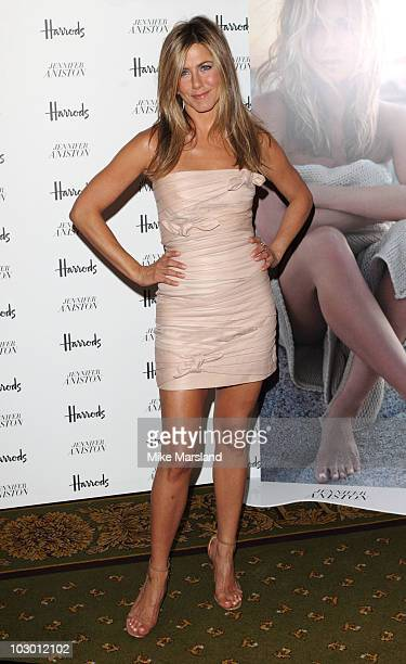 Jennifer Aniston attends photocall at launch of her new signature fragrance at Harrods on July 21 2010 in London England