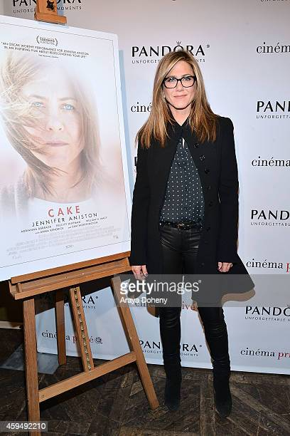 Jennifer Aniston attends the cinema prive And PANDORA Jewelry Host A Special Screening Of Cake on November 23 2014 in West Hollywood California