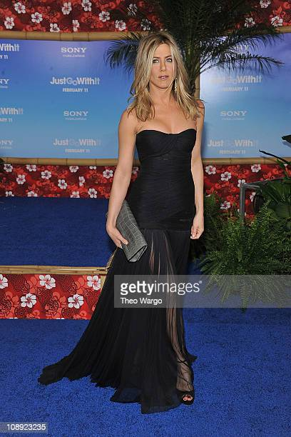 """Jennifer Aniston attends the premiere of """"Just Go With It"""" at the Ziegfeld Theatre on February 8, 2011 in New York City."""