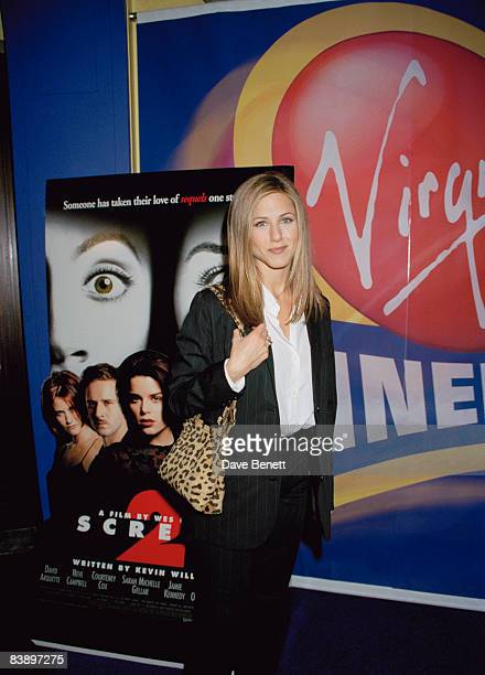 Jennifer Aniston attends the premiere of 'Scream 2' at the Virgin cinema in Fulham 3rd April 1998