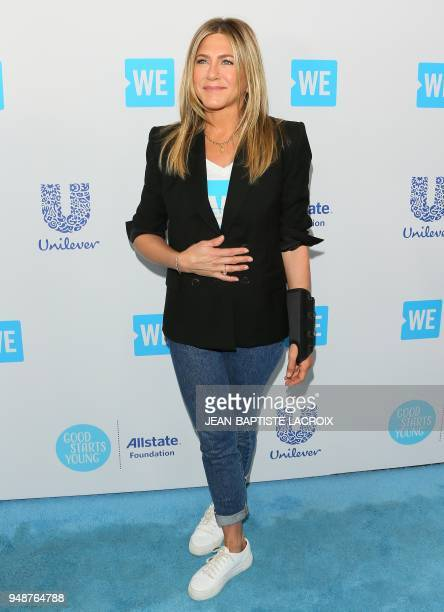 Jennifer Aniston attends WE Day California at The Forum in Inglewood California on April 19 2018
