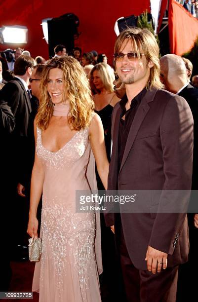Jennifer Aniston Brad Pitt during The 54th Annual Primetime Emmy Awards Arrivals at The Shrine Auditiorium in Los Angeles California United States