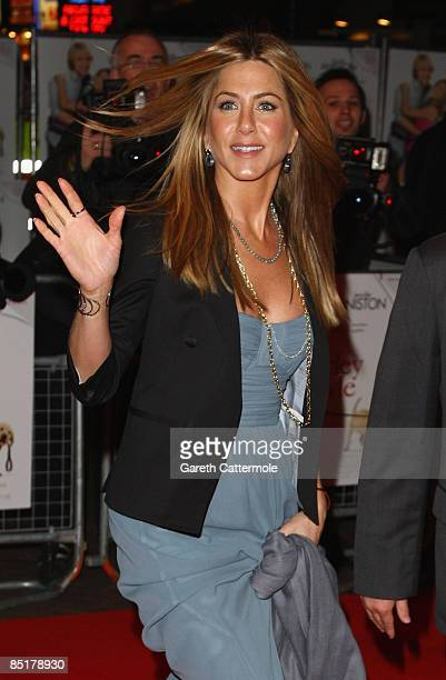 Jennifer Aniston departs the UK premiere of 'Marley And Me' at the VUE west End Leicester Square on March 2 2009 in London England