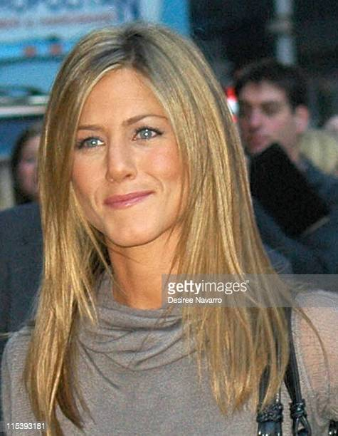 """Jennifer Aniston during Jennifer Aniston, 50 Cent and Rip Taylor Arrive at """"The Late Show with David Letterman""""- November 7, 2005 at Ed Sullivan..."""