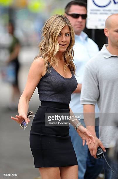 "Jennifer Aniston filming on location for ""The Bounty"" in the borough of Brooklyn on July 17, 2009 in New York City."