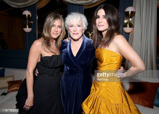 Jennifer Aniston, Glenn Close and Sandra Bullock attend the Netflix 2020 Golden Globes After Party at The Beverly Hilton Hotel on January 05, 2020 in...