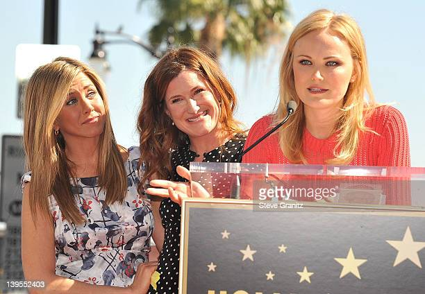 Jennifer Aniston, Hathryn Hahn and Malin Akerman attends the Jennifer Aniston Hollywood Walk Of Fame Induction Ceremony on February 22, 2012 in...