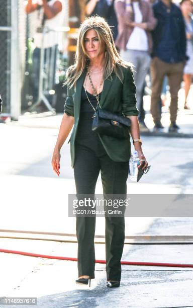 Jennifer Aniston is seen arriving at 'Jimmy Kimmel Live' on May 29 2019 in Los Angeles California