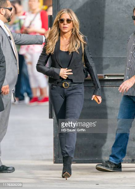 Jennifer Aniston is seen at 'Jimmy Kimmel Live' on October 16 2019 in Los Angeles California