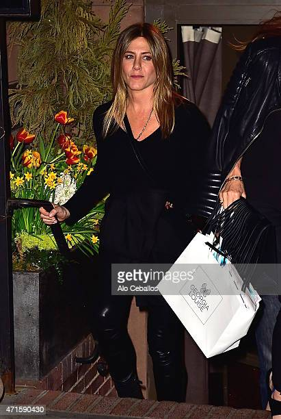 Jennifer Aniston is seen leaving Blue Hill on April 29 2015 in New York City