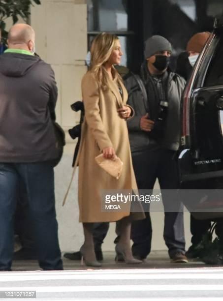 Jennifer Aniston is seen on February 09, 2021 in Los Angeles, California.