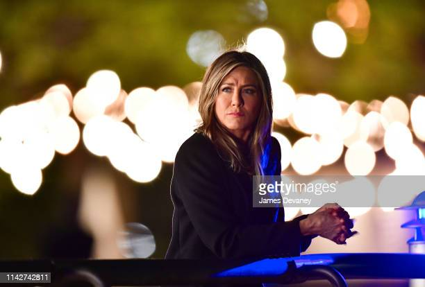 Jennifer Aniston is seen on location for 'The Morning Show' at Pier 45 at Hudson River Park on May 10 2019 in New York City