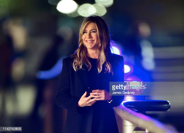 Jennifer Aniston is seen on location for 'The Morning Show' at Pier 45 at Hudson River Park on May 10, 2019 in New York City.