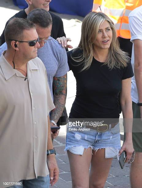 Jennifer Aniston is seen on set filming 'Murder Mystery' on July 30 2018 in Como Italy