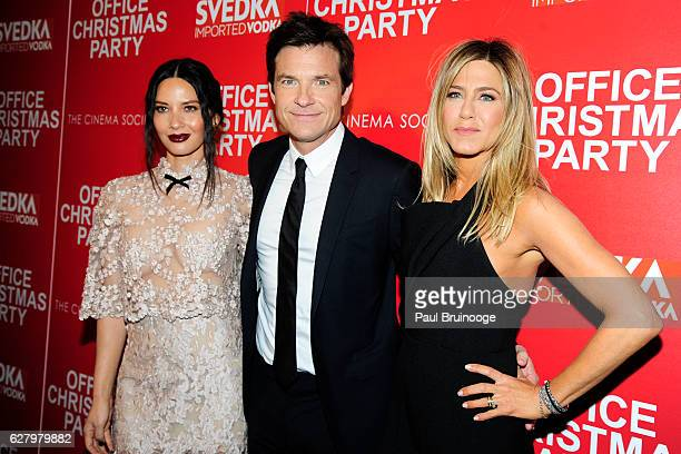 Jennifer Aniston, Jason Bateman and Olivia Munn attend the Paramount Pictures with Paramount Pictures with The Cinema Society & Svedka Host a...