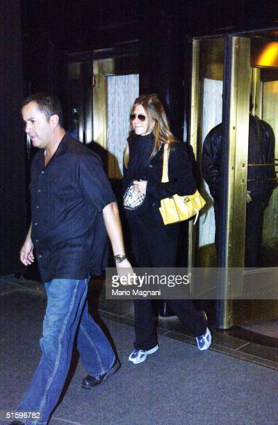 Jennifer Aniston leaves a midtown hotel October 27 2004 in New York City