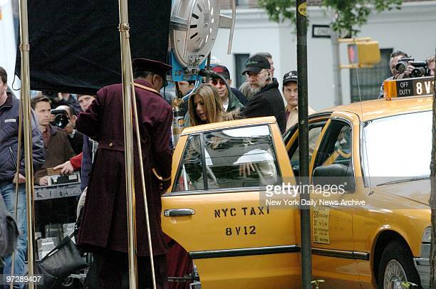 Jennifer Aniston leaves a taxi while filming the movie Rumor Has It on West End Ave