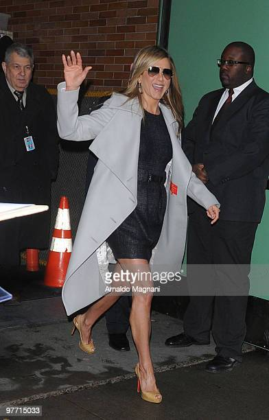 Jennifer Aniston leaves Good Morning America on March 15 2010 in New York City