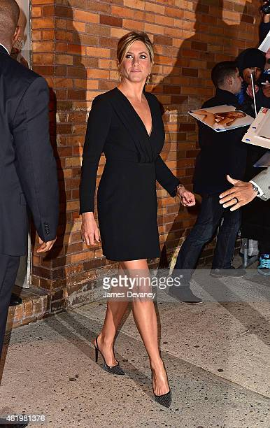 Jennifer Aniston leaves The Daily Show With Jon Stewart on January 22 2015 in New York City