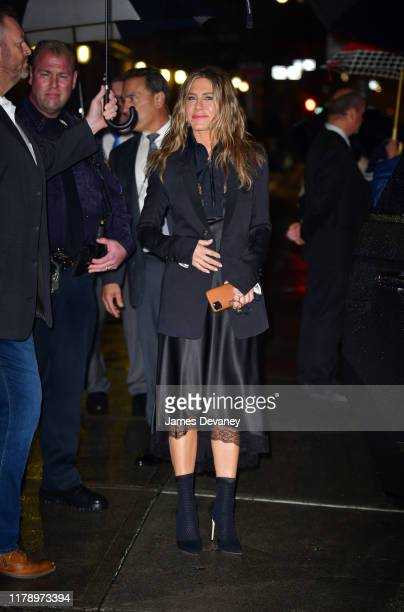 Jennifer Aniston leaves The Late Show with Stephen Colbert at the Ed Sullivan Theater on October 29 2019 in New York City