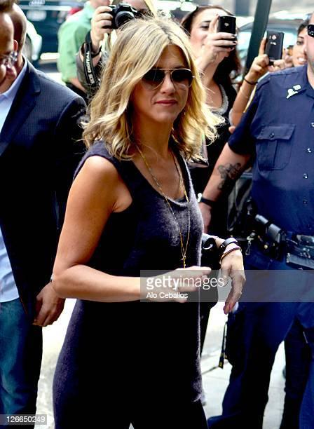 Jennifer Aniston leaves TV show Good Morning America on September 26 2011 in New York City