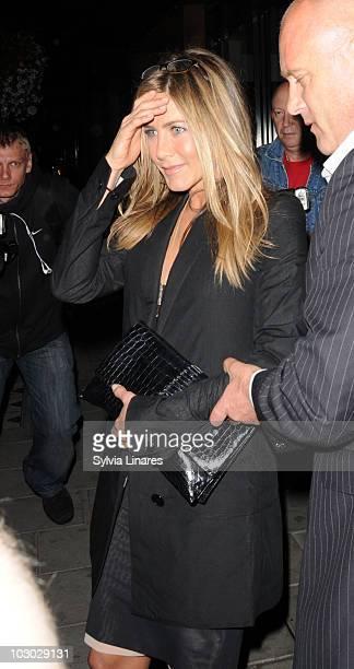 Jennifer Aniston leaving C Restaurant on July 21 2010 in London England