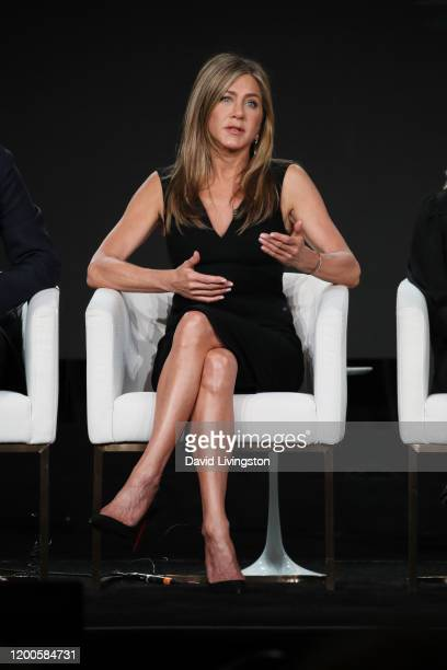 Jennifer Aniston of The Morning Show speaks onstage during the Apple TV segment of the 2020 Winter TCA Tour at The Langham Huntington Pasadena on...