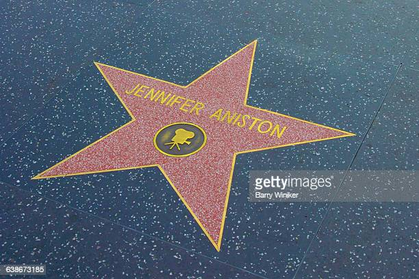 jennifer aniston on walk of stars, hollywood - walk of fame stock pictures, royalty-free photos & images